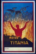 Vintage cycling poster - Cycles Motos Titania